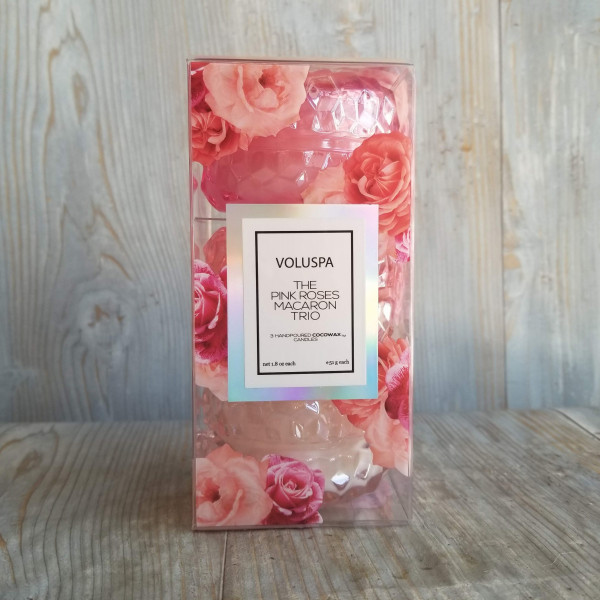Voluspa Pink Roses Macaron Trio