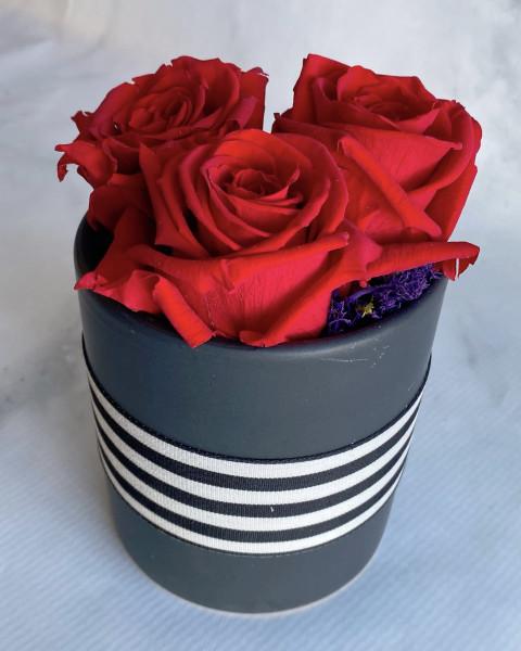 Permanent Rose - Red in Black Ceramic