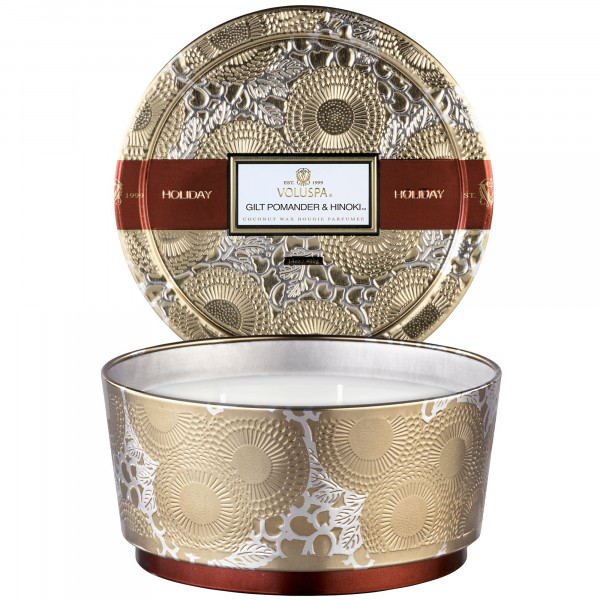 Holiday Voluspa Gilt Pomander and Hinoki 3 Wick Candle Tin