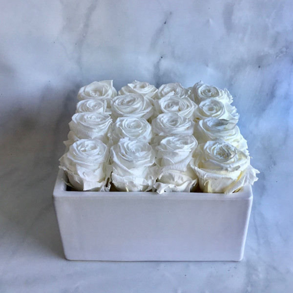 Permanent Rose Square Box - White