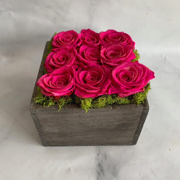 Permanent Rose Wooden Box - Pink