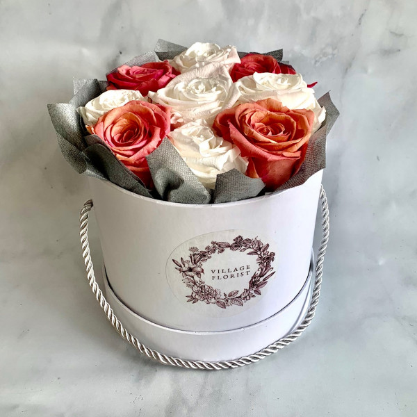 Permanent Rose Box - Pink and White