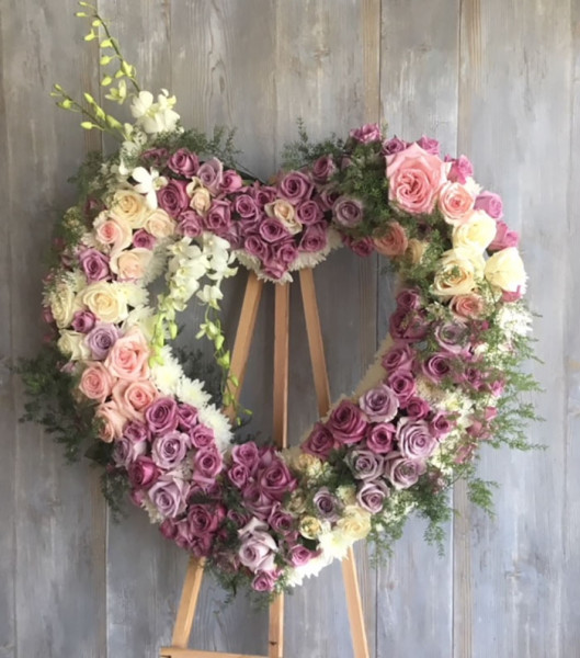 Always Remember Floral Heart Wreath
